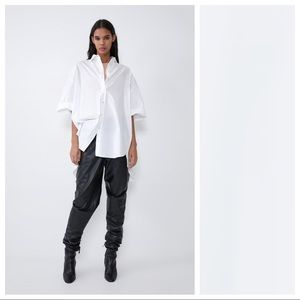 NWT. Zara White Oversized Poplin Shirt. Size S-M.